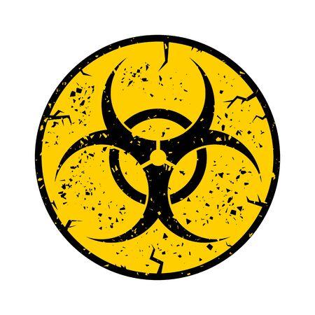 Beware Biohazard Sign Isolated on White Backgrouind. International Hazard Symbol. Warning Icon of Virus