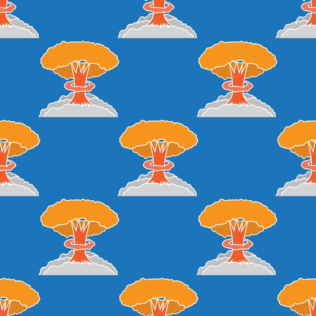 Nuclear Burst Seamless Pattern. Cartoon Bomb Explosion Isolated on Blue Background. Radioactive Atomic Power. Symbol of War. Big Mushroom Cloud.