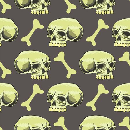 Old Human Skull Seamless Pattern on Grey Background.