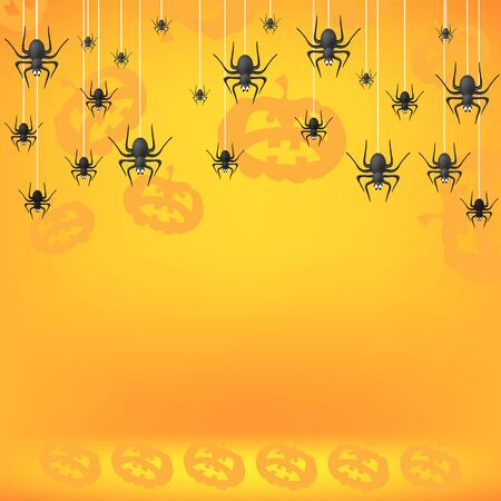 Halloween Decoration Pattern with Pumpkin and Spider Isolated on Orange Background.