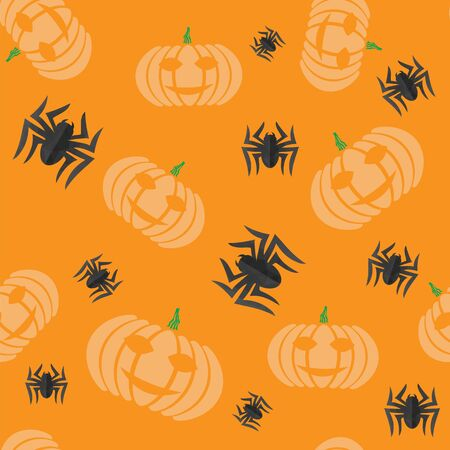Halloween Decoration Seamless Pattern with Natural Pumpkin and Spider Isolated on Orange Background. Banque d'images - 131494512