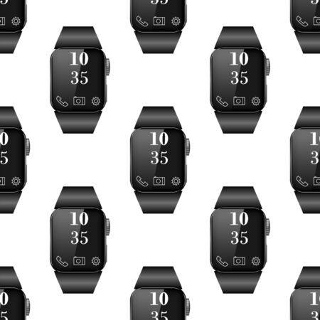Black Smart Watch Seamless Pattern Isolated on White Background. Standard-Bild - 132795163