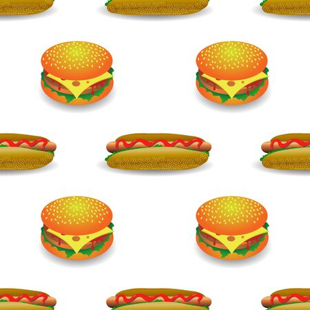 Street Fast Food Seamless Pattern. Fresh Hamburger and Hot Dog. Unhealthy High Calorie Meal. Set of Sandwiches. Archivio Fotografico - 132795484