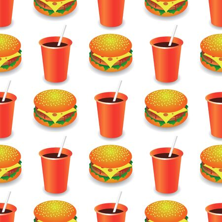 Street Fast Food Seamless Pattern. Fresh Hamburger and Cold Drink. Unhealthy High Calorie Meal. Set of Sandwiches.