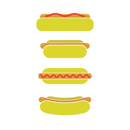 Street Fast Food Icons. Fresh Hot Dog. Unhealthy High Calorie Meal. Archivio Fotografico - 132912056