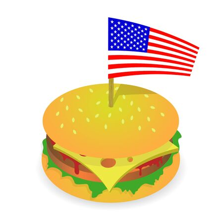 Street Fast Food. Fresh Hamburger and American Flag. Unhealthy High Calorie Meal. Sandwich with Cheese. Archivio Fotografico - 132912057