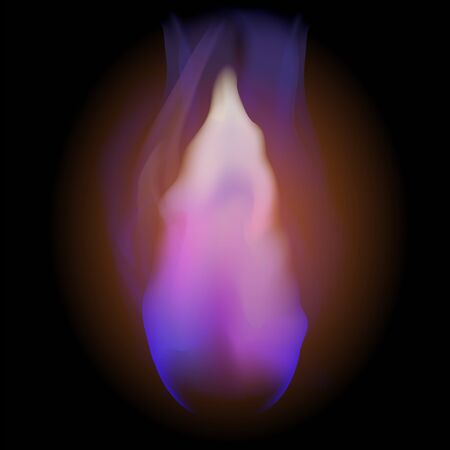 Gas Burning Firewith Flying Embers on Blurred Black Background.