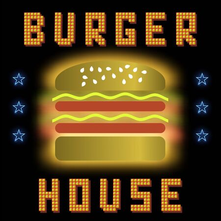 Burger House Neon Colorful Sign on Black Background. Fast Food Sign.