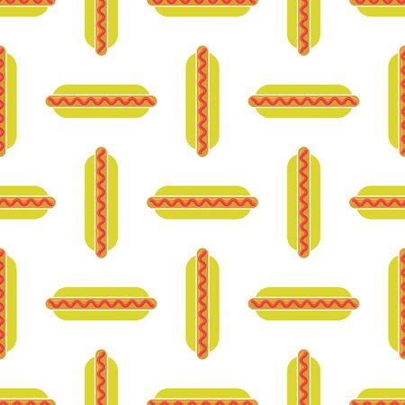 Street Fast Food Seamless Pattern. Fresh Hot Dog. Unhealthy High Calories Meal. Illustration