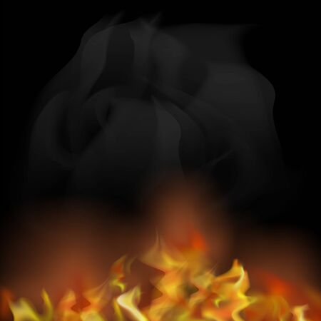 Flame Isolated over Black Background. Hot Red and Yellow Burning Fire with Flying Embers.