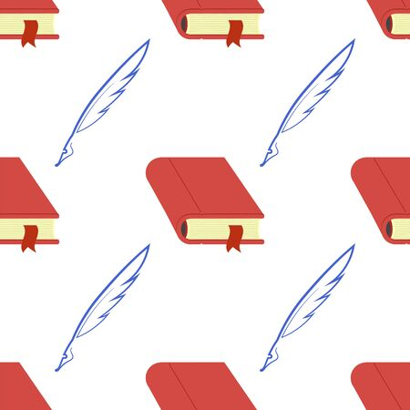 Red Book and Feather Seamless Pattern on White Background. Ilustrace