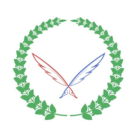 Red Blue Feathers and Green Laurel Icon Isolateed on White Background.