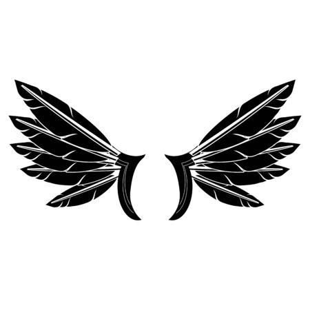 Angel or Phoenix Wings on White Background. Winged  Design. Part of Eagle Bird. Design Elements for Emblem, Sign, Brand Mark. Ilustrace
