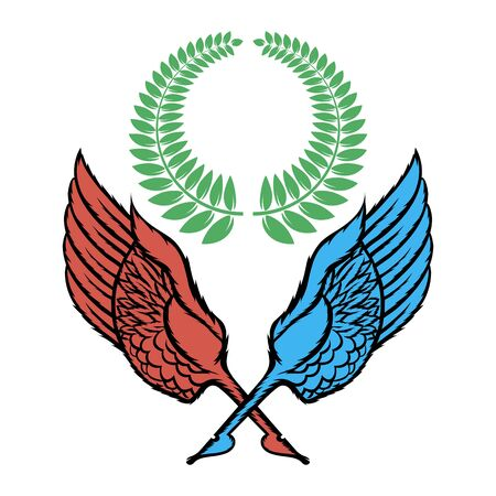 Wings Pen Icon with Green Wreath Isolated on White Background. Winged Design. Part of Eagle Bird. Design Elements for Emblem, Sign, Brand Mark.  イラスト・ベクター素材