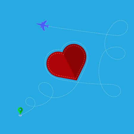 Airplane Flying on Blue Sky Background. Dotted Route Path with Red Heart. Concept of Aviation. 일러스트