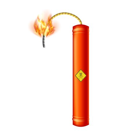 Bomb Icon on White Background. Detonate Dynamite Concept. TNT Red Stick. Design Element for Flyer and Poster. Explode Flash, Burn Explosion.
