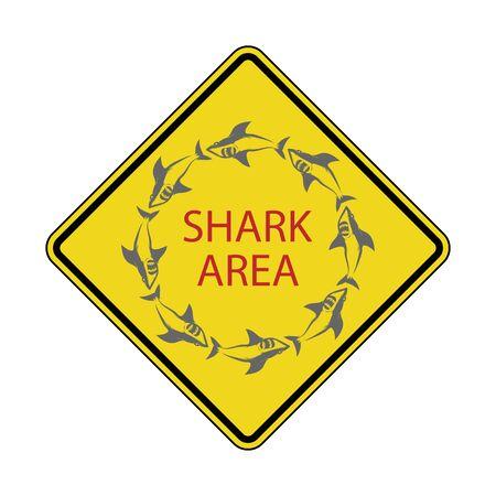 Gevaarlijke haaienzone. Pas op voor haaien. Geel vierkant waarschuwingsbord. Gevaarlijk zeeleven. Zwemmen op eigen risico. Hoog risicogebied.