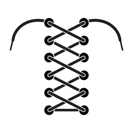 Black Shoelace Icon Isolated on White Background.