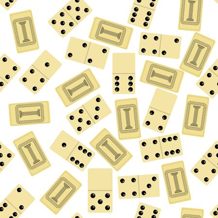 Domino Seamless Pattern Isolated on White Background. Board Game Texture. Vectores