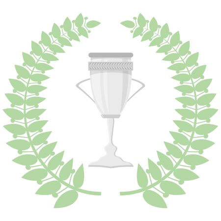Green Leaves. Circle Wreath. Award Icon. Placement in a Sporting Competition Contest or Business and Education Challenge. Round Label with Laurel Whreat for First Place.