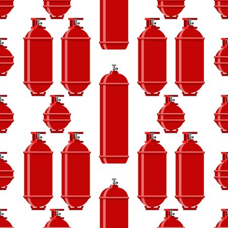 Red Gas Tank Seamless Pattern Isolated on White Background. Metallic Cylynder Container for Propane. Иллюстрация