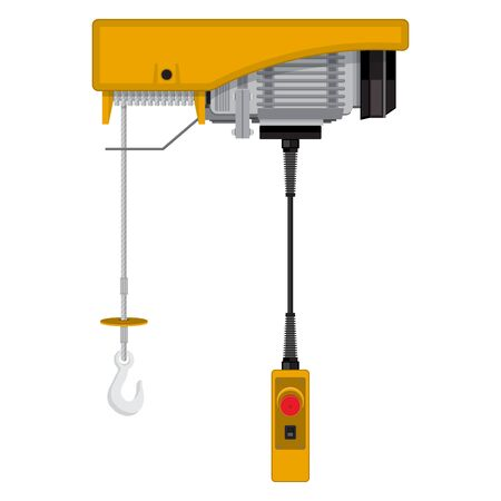 Industrial Hoist Icon Isolated on White Background.