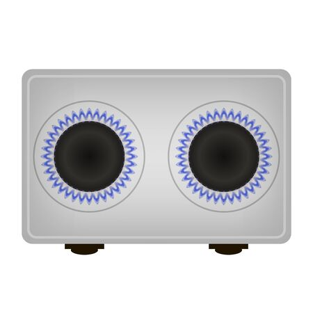 Grey Gas Stove and Blue Burning Fire Isolated on White Background. Top View. Illustration