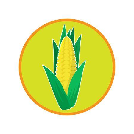 Fresh Yellow Corn Icon. Natural Vegetable Seeds. Corncob Design. An Ear of Gold Cob.