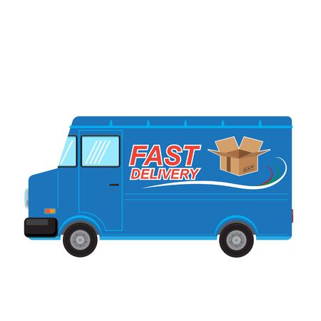 Fast Delivery Design with Open Paper Box on Blue Truck. Side View. Stock Illustratie