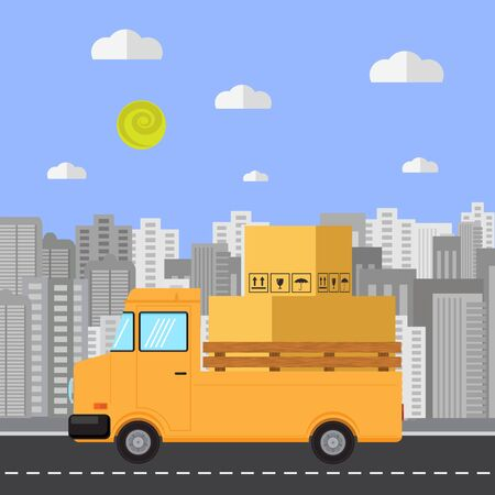 Fast Delivery Design with Paper Box on Orange Truck. Side View.