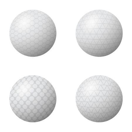 Set of Golf Balls Isolated on White Background. Vettoriali