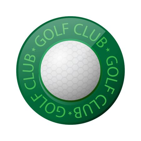 Golf Ball Icon and Golf Club text Isolated on White Background.