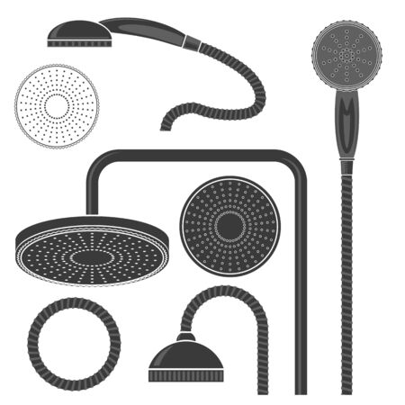 Set of Different Bath Shower Head Icon Isolated on White Background. Bathroom Collection. Flat Design.