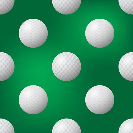 Realistic Golf Ball Icon Seamless Pattern on Blurred Green Background.