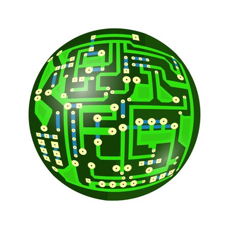 Green Circuit Board Isolated on White Background. Flat Design. Modern Computer Technology Background. Modern Sphere. High Tech Printed Symbol.