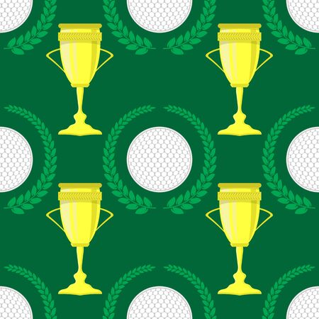 Golf Ball Icon and Laurel Seamless Pattern on Green Background. Illustration