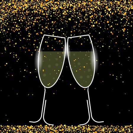 Two Sparkling Glasses on Yellow Falling Confetti Background. Champagne Celebration. Happy New Year. Alcoholic Fizzy Drink. Congratulations. Cheers.