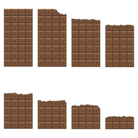 Bitten Milk Brown Chocolate Bar Seamless Pattern. Sweet Food Set.