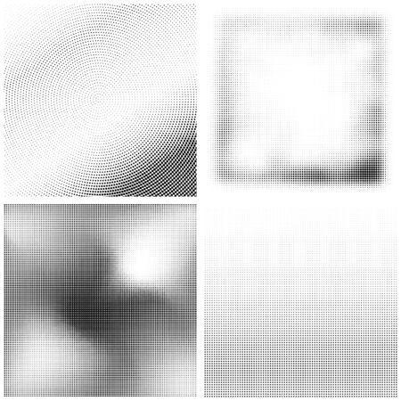 Halbtonmuster. Satz von Punkten. Gepunktete Textur auf weißem Hintergrund. Overlay-Grunge-Vorlage. Not Lineares Design. Monochrome Punkte verblassen. Pop-Art-Hintergrund. Vektorgrafik