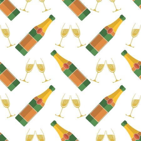 Champagne Bottle Seamless Pattern. Happy New Year. Lets Celebrate. Cheers. Champagne Celebration. Alcoholic Fizzy Drink. Congratulations. Merry Christmas. Vettoriali