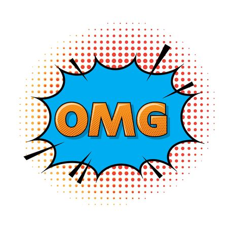 OMG Lettering. Comics Book Background. Colorful Halftone Pattern. Cartoon Speech Bubble. Dotted Texture. Vettoriali