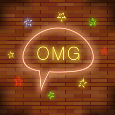 OMG Neon Light. Orange Brick Wall Background. Colorful Starry Pattern with Cartoon Speech Bubble.