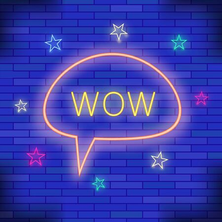 WOW Neon Light. Blue Brick Wall Background. Colorful Starry Pattern with Cartoon Speech Bubble. Vettoriali