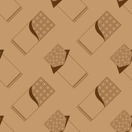 Milk Brown Chocolate Bar Seamless Pattern. Sweet Food.