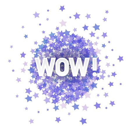 WOW Lettering on Blue Transparent Starry Background for Web Banners, Header, Shop