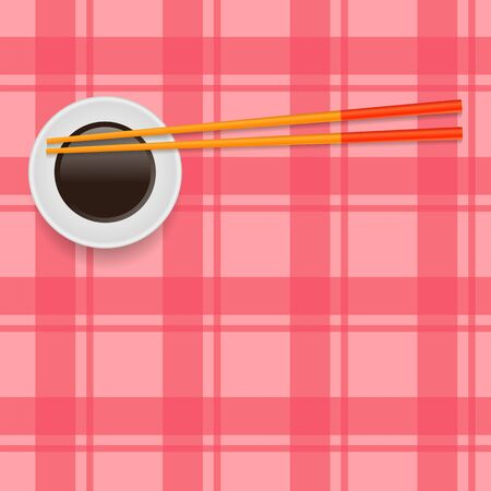 Soy Sauce and Traditional Colored Asian Chopsticks for Food on Red Square Background. Vettoriali