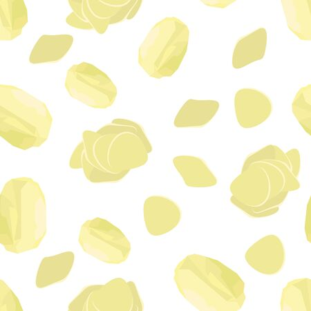Potato Seamless Pattern on White Background. Whole, Slices, Half, Circle Potatoes. Tasty Vegetable. Fast Food Snack. Organic Food.
