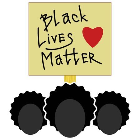Black Lives Matter Paper Banner for Protest on White Background. Vettoriali
