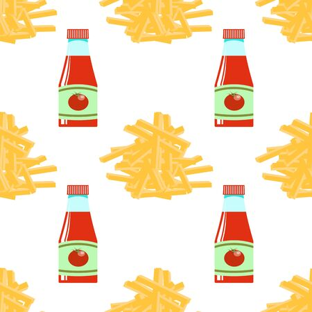 Yellow French Fries and Ketchup Texture. Fry Potato Chips Seamless Pattern on White Background. Slices of Tasty Vegetable. Fast Food Snack. Organic Food. 3d Illustration. Vettoriali