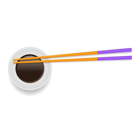 Soy Sauce and Traditional Colored Asian Chopsticks for Food on White Square Background. Archivio Fotografico - 149625571